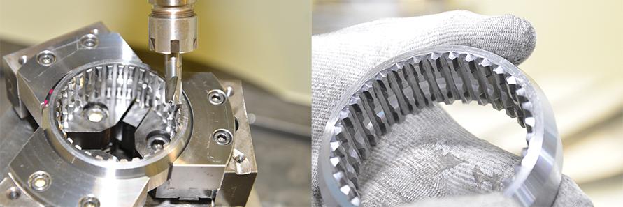 苦労したというチャンファ面の加工工程。右の写真で均等にチャンファ(スプライン先端鋭角部)が削られているのが分かる