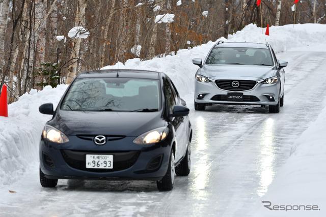 凍結した路面でi-ACTIV AWDを体験