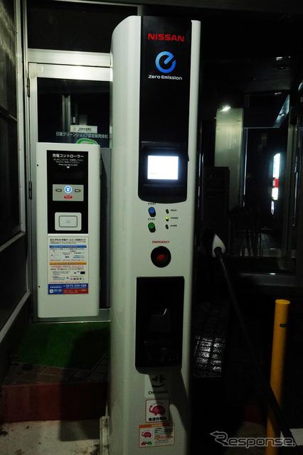 もっとも充電速度が速かった日産プリンス秋田横手支店の装置。ただし、同型の装置でももっと遅い拠点もあった。