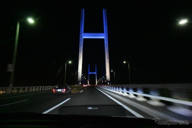 東京を出発直後、首都高速湾岸線をクルーズ中。