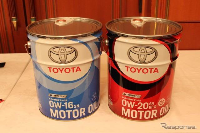 燃費向上のポイントが新採用のキヤッスルモーターオイル SN 0W-16。ターボエンジン搭載車にも適合する SN 0W-20はこの秋に発売予定。両方とも化学合成油でモリブデンを配合。従来車にも適合する