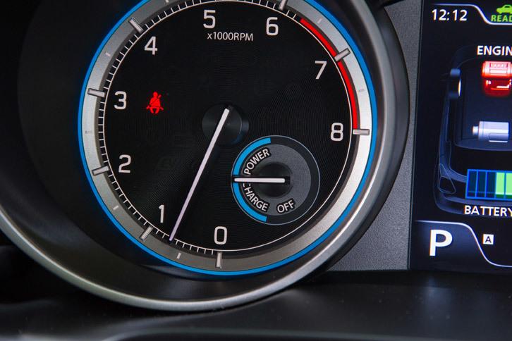 エンジン回転計の内部には駆動用モーターのアシスト量と回生ブレーキによる発電量を示す「モーターパワーメーター」が追加されており、ハイブリッド機構の作動状態を常に確認できる。