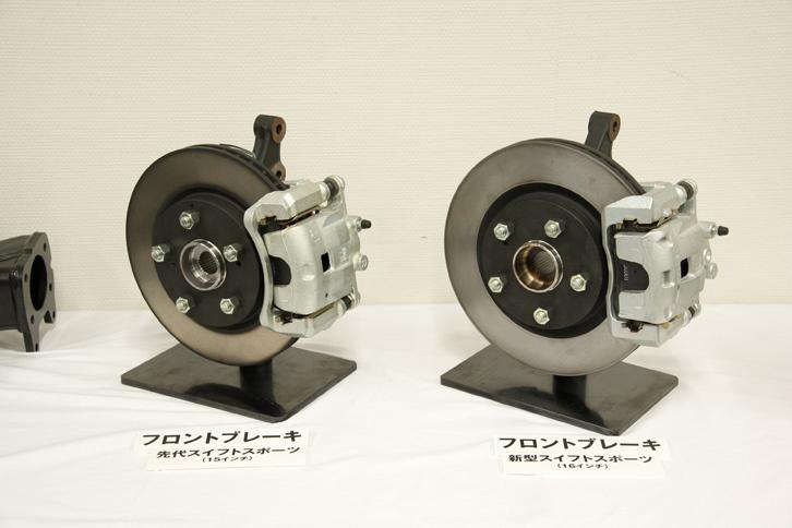 制動力の強化し、耐フェード性を高めるため、フロントには従来モデルより径も厚みも大きいベンチレーテッドディスクを採用。キャリパーにもより大型で高剛性のものを用いている。写真は左が新型、右が従来型のフロントブレーキ。