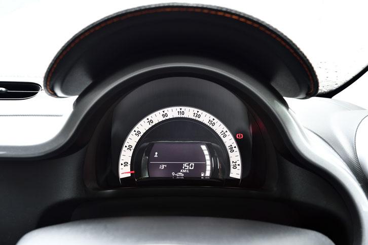 メーターは速度計のみ。220km/hまで刻まれている。