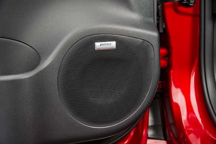 テスト車には「BOSE Energy Efficient Seriesサウンドシステム」が装着されていた。本革シートとのセットオプションとして設定される。