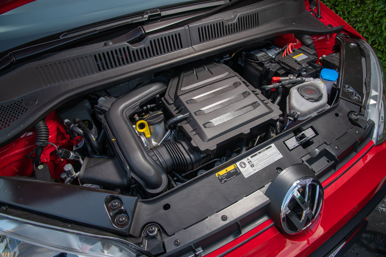 「up! GTI」に搭載される、1リッター直3ターボエンジン。標準車の自然吸気エンジンが最高出力75ps、最大トルク95Nmとなっているのに対し、こちらは116psの最高出力と200Nmの最大トルクを発生する。