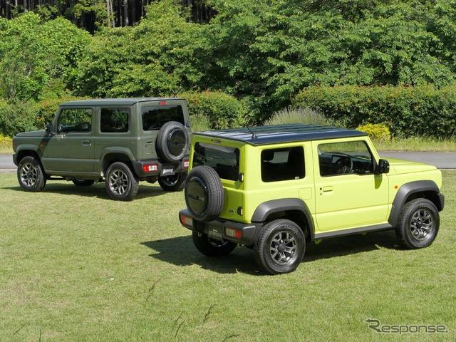 スズキ ジムニーシエラ 新型(右)とジムニー新型(左)