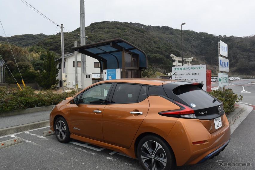 白兎神社で20分弱充電。普通充電を除くと今回のツーリングのなかで最も出力が低く、推定充電電力量は4kWhにすぎなかった。