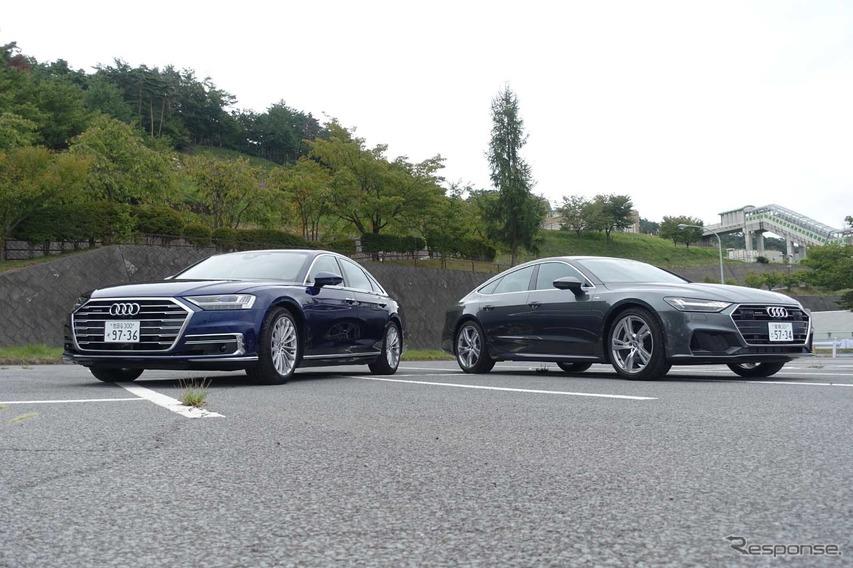アウディ A8(左)とアウディ A7スポーツバック(右)