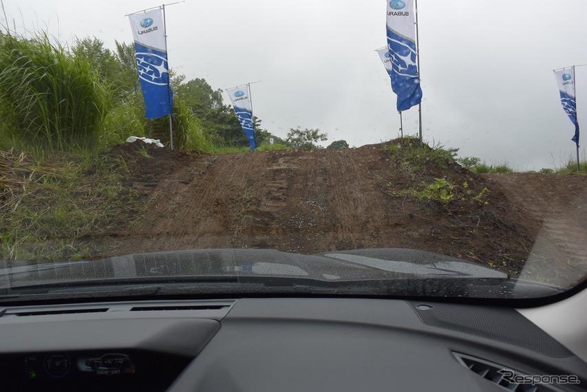 最大斜度25度の泥濘路を登る。
