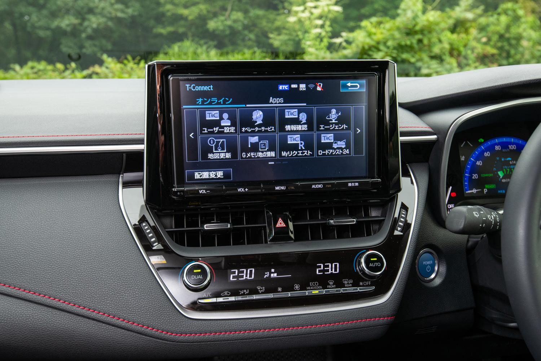 純正ナビに搭載されるコネクティッド機能およびサービス「T-Connect」の操作画面。「カローラ スポーツ」には「DCM」と呼ばれる通信モジュールが搭載されており、トヨタは新型「クラウン」と並んで「初代コネクティッドカー」と位置づけている。