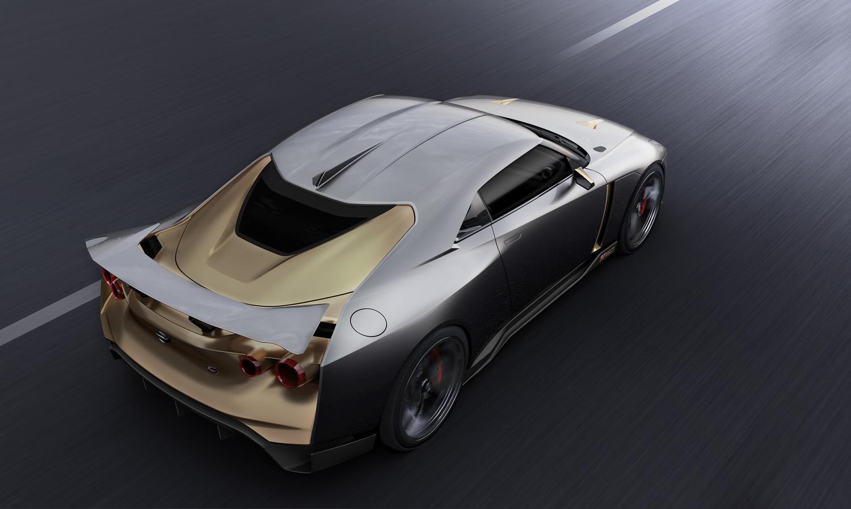 イタルデザインが公開した「日産GT-R50 by Italdesign」の画像。リアまわりに大胆に用いられたゴールドの配色も、このクルマの特徴となっている。
