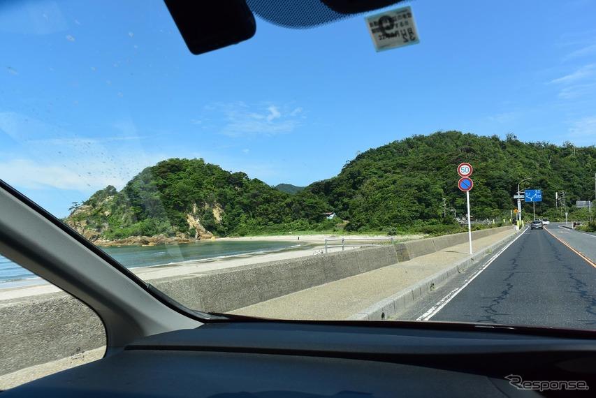 兵庫の日本海沿岸を走る。