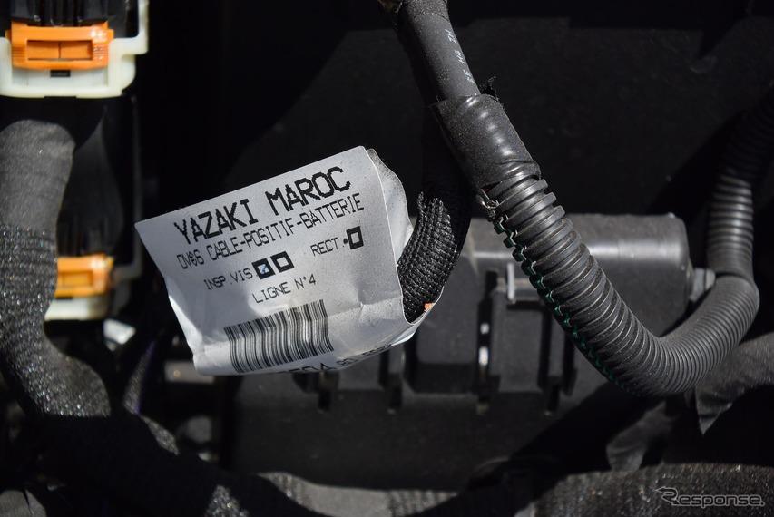 バッテリーケーブルは矢崎総業モロッコ工場製。ワールドワイドぶりが伺えるところ。