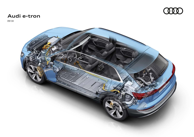 「e-tron」の透視図。床下に容量95kWh、重さ約700kgというリチウムイオンバッテリーを敷きつめる。パワーユニットは、システム最高出力407.8ps(300kW)、同最大トルク664Nmとなっている。