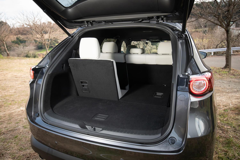 ラゲッジスペースには、7人乗車時でも9インチゴルフバッグを2個積めるスペースを確保。「Lパッケージ」にはパワーテールゲートが標準装備される。