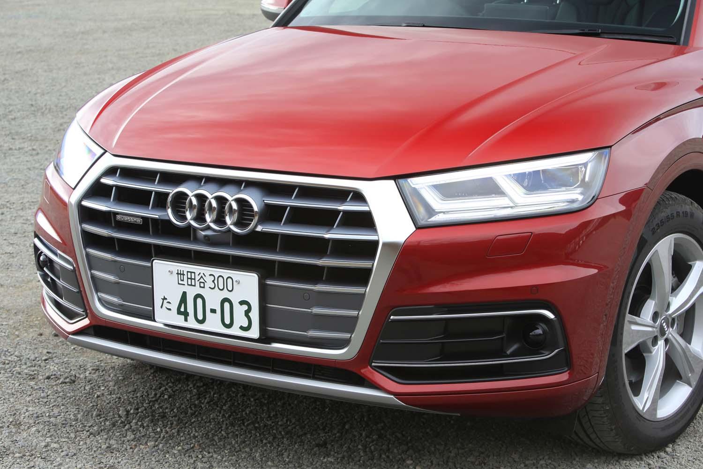 六角形のシングルフレームグリルの斜め上の部分がヘッドランプとつなげられたフロントマスク。車外に「TDI」などのバッジは備わっておらず、外観からディーゼルモデルとガソリンモデルを見分けることは難しい。