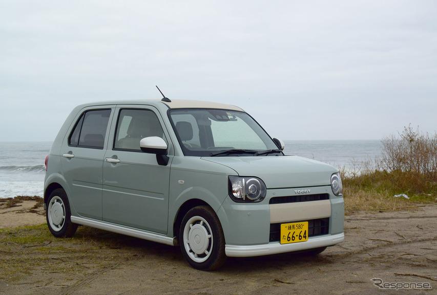 """ミラトコット「G""""SA III""""」フロント。鳥取・北栄町の海岸にて。アナザースタイルパッケージ装着のためローエンドやミラーが2トーンに。"""