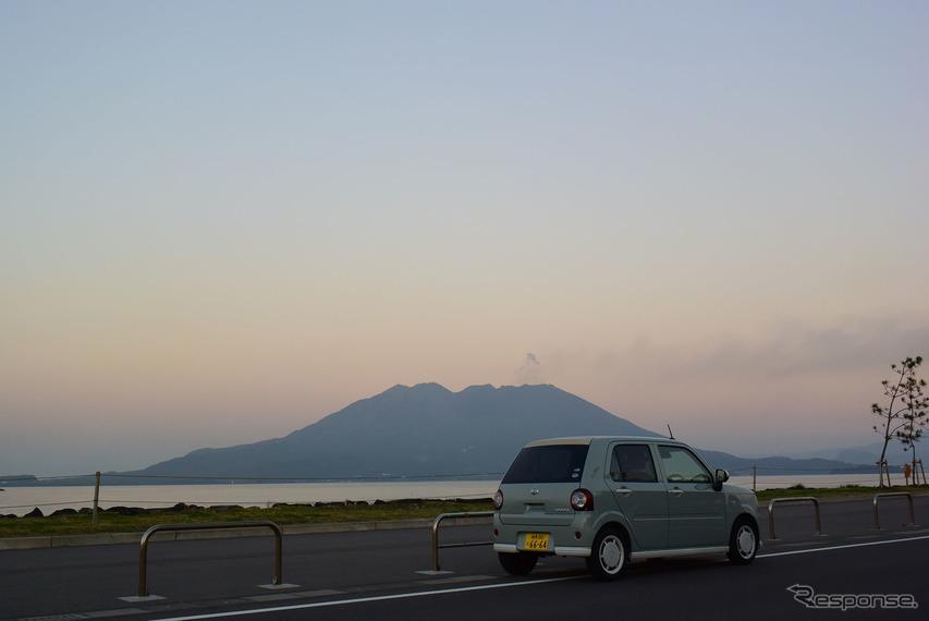桜島とコラボで記念写真を撮った。