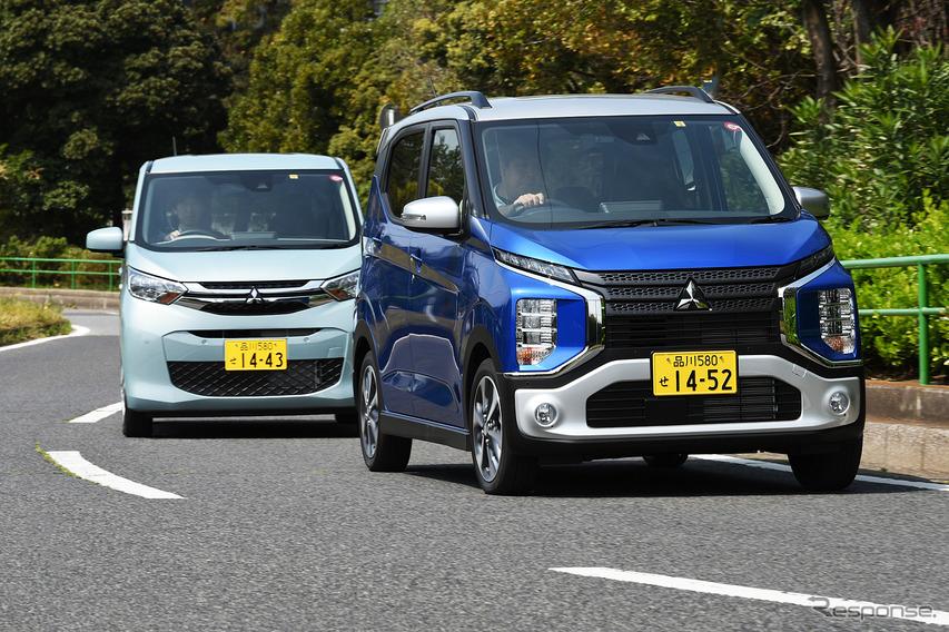 三菱 eKクロス 新型(右)と三菱 eKワゴン 新型