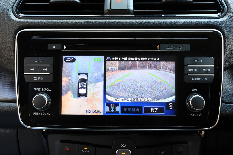 センタークラスターのモニターに表示された、オートパーキングの操作画面。充実した運転支援システムも「e+ G」の特徴だ。
