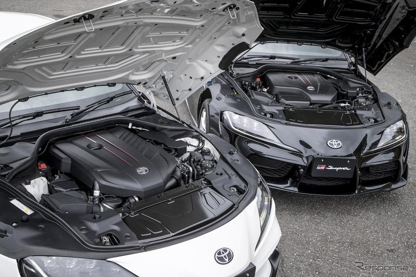 トヨタ スープラ 新型の直6エンジン(手前)と直4エンジン