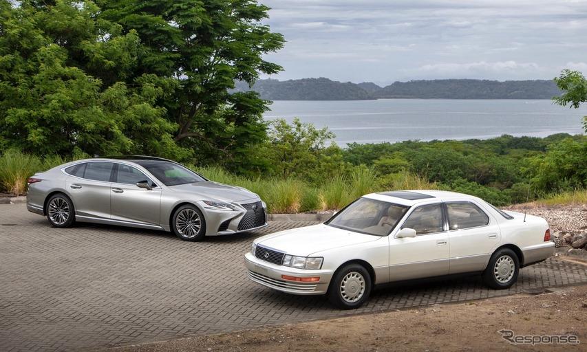 1990年型LS400(白)と2019年型LS500(銀)