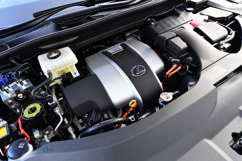 3.5リッターV6エンジンをモーターがアシストする、「RX450h」のパワーユニット。313PSのシステム最高出力を発生する。