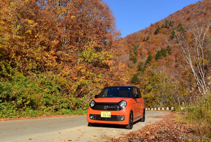 ホンダ N-ONE RS。福島の山間部、檜枝岐村にて。