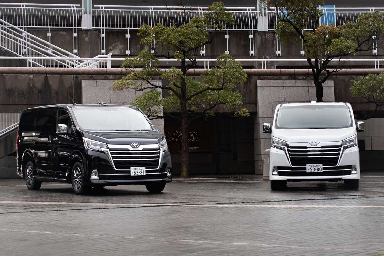 2019年12月に発売された、トヨタの新型ピープルムーバー「グランエース」。3列6人乗りの「プレミアム」(写真左)と4列8人乗り「G」(同右)の2タイプがラインナップされている。