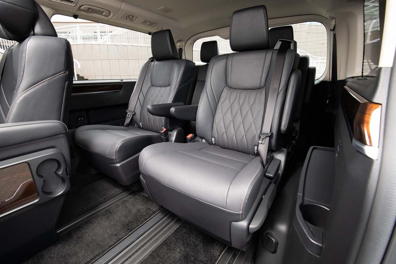 8人乗り仕様車の3列目には手動調節式のキャプテンシートが採用されている。さらに後方の4列目には、左右シート間をウオークスルーしてアクセスする。