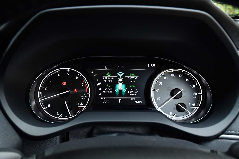 2眼タイプのメーターパネル。中央の7インチディスプレイには、運転支援システムの作動状況や燃費データなど、さまざまな情報が表示される。
