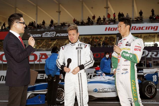 2017 鈴鹿ファン感謝デーでも、可夢偉は中嶋一貴とのSFデモ対決を演じるなど大活躍。