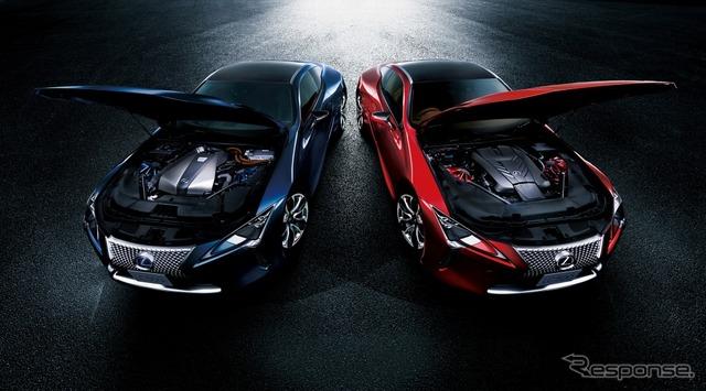 レクサス LC500h Sパッケージ(左)、LC500(右)