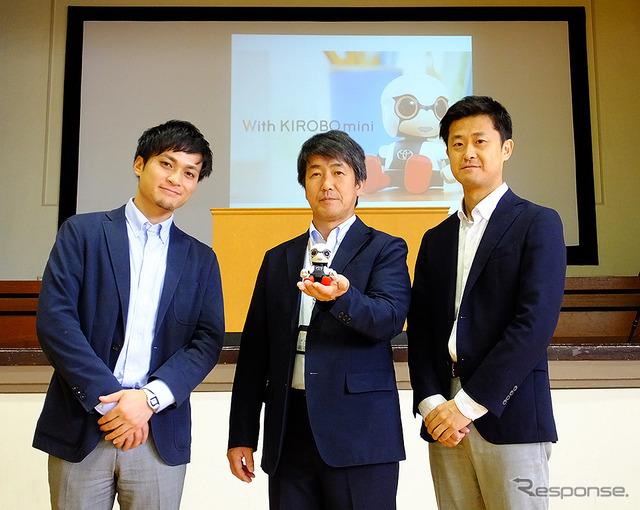 左からTMJ稲葉陽祐氏、田中孝宏校長、TMJ長澤亮祐氏