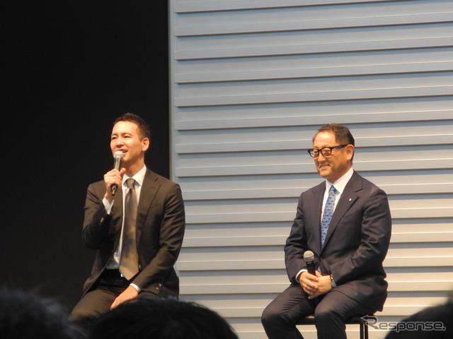 全国ハイヤー・タクシー連合会の川鍋一朗会長(左)と豊田章男社長