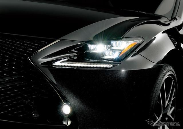 レクサス RC350 Fスポーツ プライムブラック 三眼フルLEDヘッドランプ(ロー・ハイビーム)&LEDフロントターンシグナルランプ