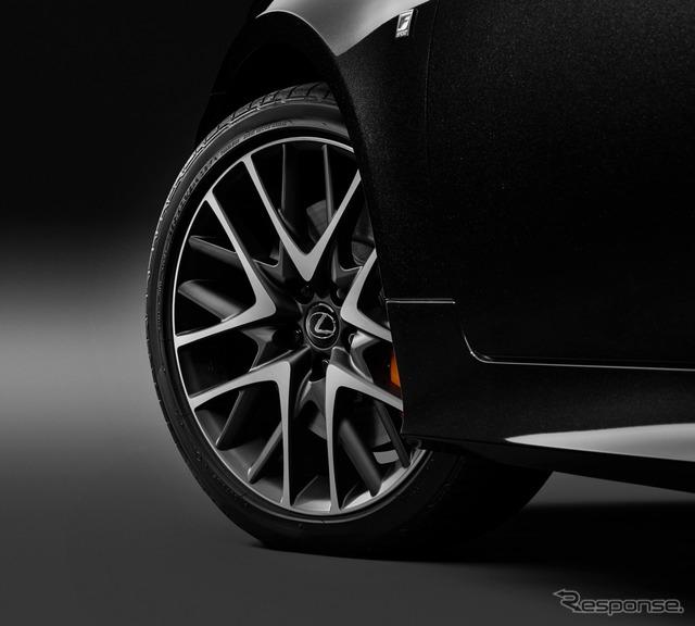 レクサス RC350 Fスポーツ プライムブラック フロント235/40R19+リヤ265/35R19タイヤ&専用マットクリア塗装アルミホイール(切削光輝)&ブラックナット