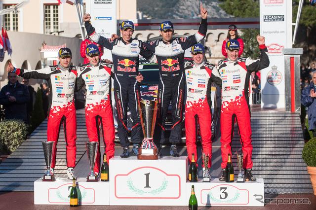 2018年WRC開幕戦モンテカルロの表彰台。左から2位タナク組、優勝オジェ組、3位ラトバラ組。