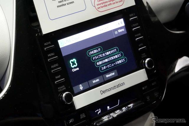 日本から持ち込んだプリウスでは音声アシスタント「LINE Clova」を使った使用例を体験できた