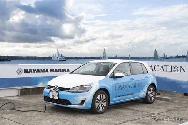 """VWと葉山町のコラボレーションによるプロジェクト """"e-HAYAMACATION"""" で提供される電気自動車 e-ゴルフ"""