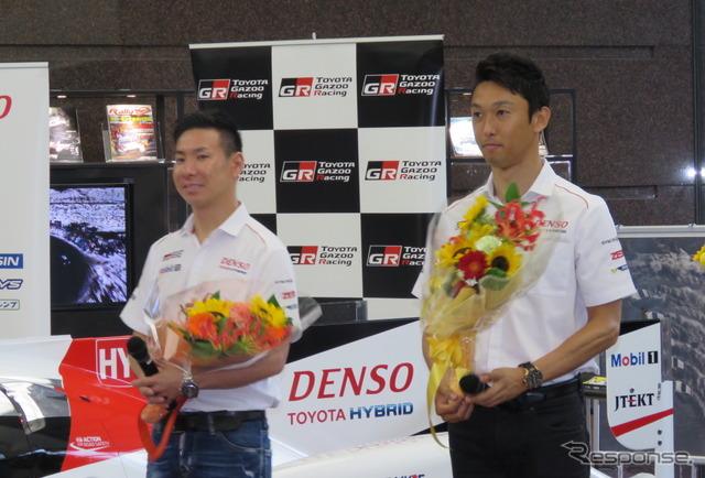 小林可夢偉(左)と中嶋一貴(右)。