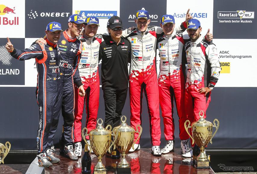 WRC第9戦ドイツの表彰式。