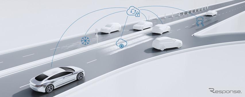 ボッシュが自動運転車向け路面状況予測サービス、悪天候に備えて速度を自動調整…CES 2019で初公開予定
