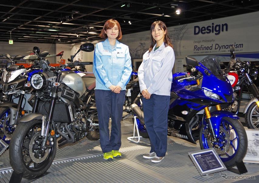 ヤマハ発動機の女性エンジニア、と渡邊真帆さん(左)と神谷久美子さん(右)
