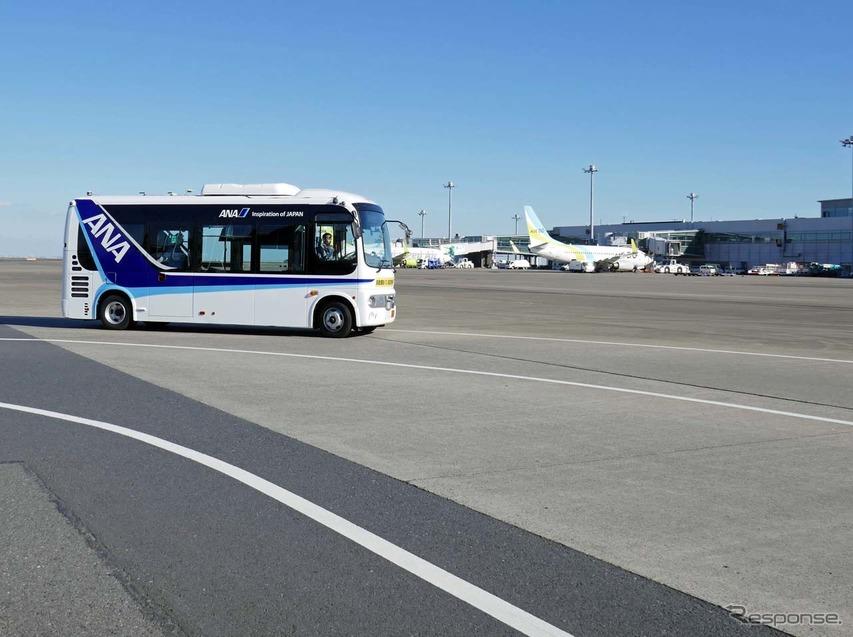 空港制限区域内で磁気マーカーによる自動運転バス ANAなど6社が羽田空港で実証実験