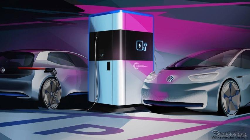 VWグループの移動式の急速充電ステーションのイメージスケッチ