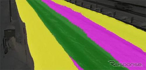 独自AIモデルによる認識結果、黄色:積雪42.0%、ピンク色:圧雪25.7%、緑色:黒シャーベット32.3%