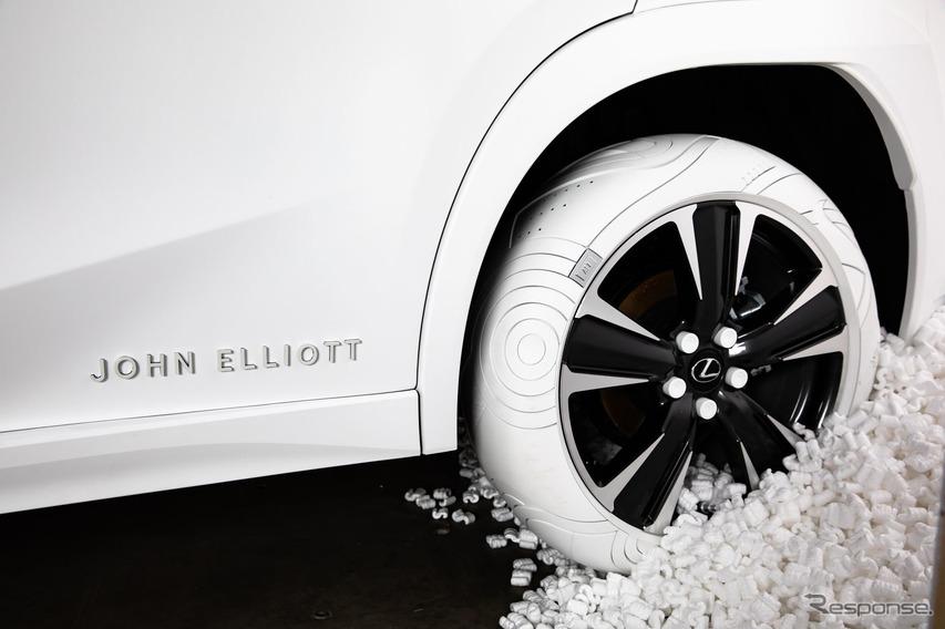 ワンオフのホワイトタイヤを装着したレクサス UX