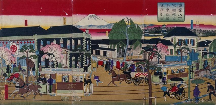 錦絵 東京名所京橋鉄道馬車往復煉瓦家ノ図(1882・日)
